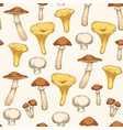 seamless pattern with edible mushroom vector image vector image