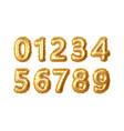 set 0123456789 numbers gold foil vector image