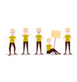 set boy character personage diversity poses male vector image vector image