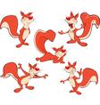 Set Cartoon Cute Squirrel vector image vector image