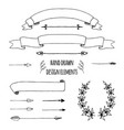 set of handdrawn ribbons arrows laurel wreath vector image