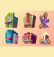 set of isometric of buildings vector image