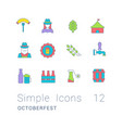 set simple line icons oktoberfest vector image vector image