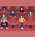 spacing sitting in movie theater vector image