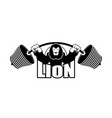 strong lion emblem leo and barbell logo for gym vector image