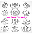 various black linear lotus logo templates vector image