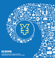 Yen JPY sign symbol Nice set of beautiful icons vector image vector image