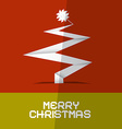 Merry Christmas Card with Paper Tree vector image