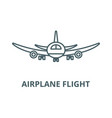 airplane flight line icon airplane flight vector image vector image