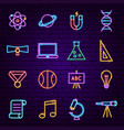 back to school neon icons vector image vector image