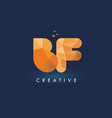 bf letter with origami triangles logo creative vector image vector image