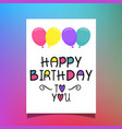 birthday balloons card vector image vector image