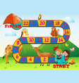 boardgame design with animals and kids vector image vector image