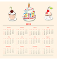Calendar with cake for 2013 vector image vector image