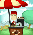 cartoon coffee stand shop at neighbor vector image vector image