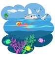 cartoon pretty girl swimming in blue ocean vector image