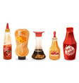 cheese sauce ketchup and mayonnaise in bottles vector image