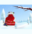 christmas background with open bag of santa claus vector image vector image