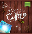 coffee objects over wooden background image vector image vector image