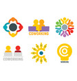coworking logo set flat style vector image
