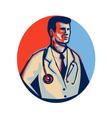 Doctor Stethoscope Standing Retro vector image vector image