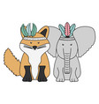 elephant and fox with feathers hats bohemian style vector image vector image