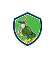 Elf Baseball Player Batting Shield Cartoon vector image vector image