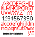 Embroidered alphabet vector image vector image