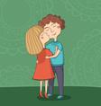 girl kissing boy on cheek vector image