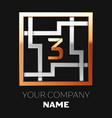 golden number three logo symbol in the square maze vector image