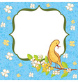Greeting card with flowers and bird vector image vector image
