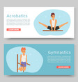 gymnastic training and acrobatics on horizontal vector image