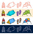 hand draw travel tent step mountain icon set in vector image vector image