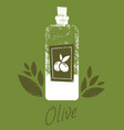 hand drawn olive oil bottle vector image
