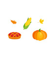harvest symbols - pumpkin corn pie fall leaves vector image vector image