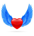 Heart with raised wings vector image vector image