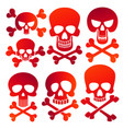 human skulls danger colors skulls icons set vector image