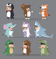 kid characters in animals costumes set vector image vector image