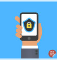 mobile security app on smartphone screen user vector image