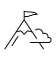 monochrome mountain with flag top icon vector image
