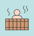 people soak warm water in wooden bathtub vector image vector image