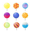 realistic detailed 3d lollipops candy set vector image vector image