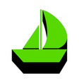 sail boat sign green 3d icon with black vector image vector image