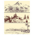 sea and mountains landscapes set vector image vector image