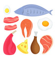 set food for keto diet fish meat eggs salmon vector image vector image