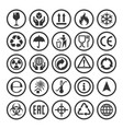 set packaging symbols vector image vector image