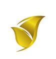 simple beauty monochromatic golden leaf logo vector image