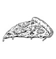 slice of pizza engraving vector image