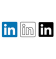 social media icon set for linkedin in different vector image