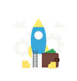 startup business rocket launch to vector image vector image
